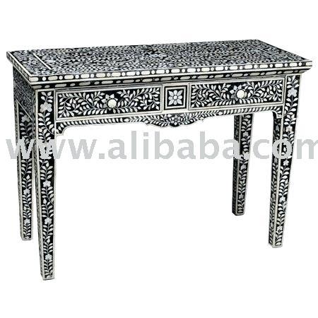 Bone Inlay Console Table Butler Black Bone Inlay Console Table Black Pertaining To Popular Black And White Inlay Console Tables (Image 11 of 25)