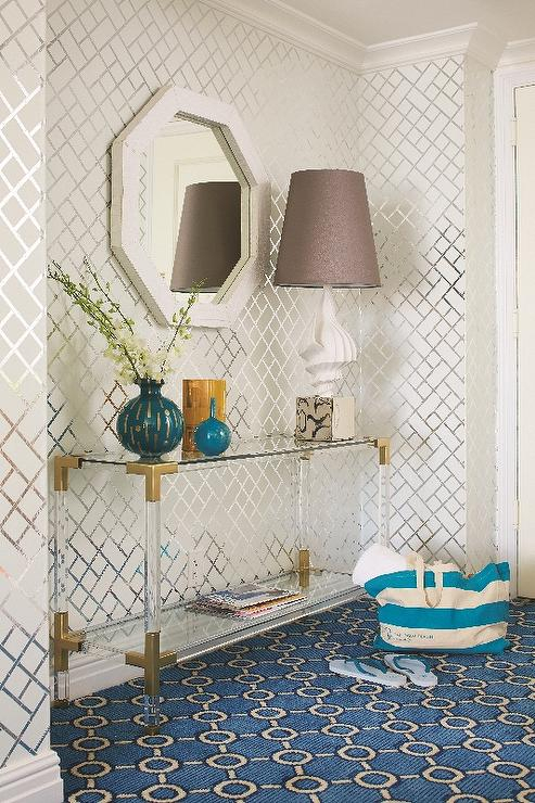 Brass And Lucite Console Table – Contemporary – Entrance/foyer In Fashionable Jacque Console Tables (Image 1 of 25)