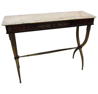 Brass Console Table Impressive Elke Marble With Base Reviews Crate Regarding Fashionable Elke Marble Console Tables With Brass Base (Image 8 of 25)