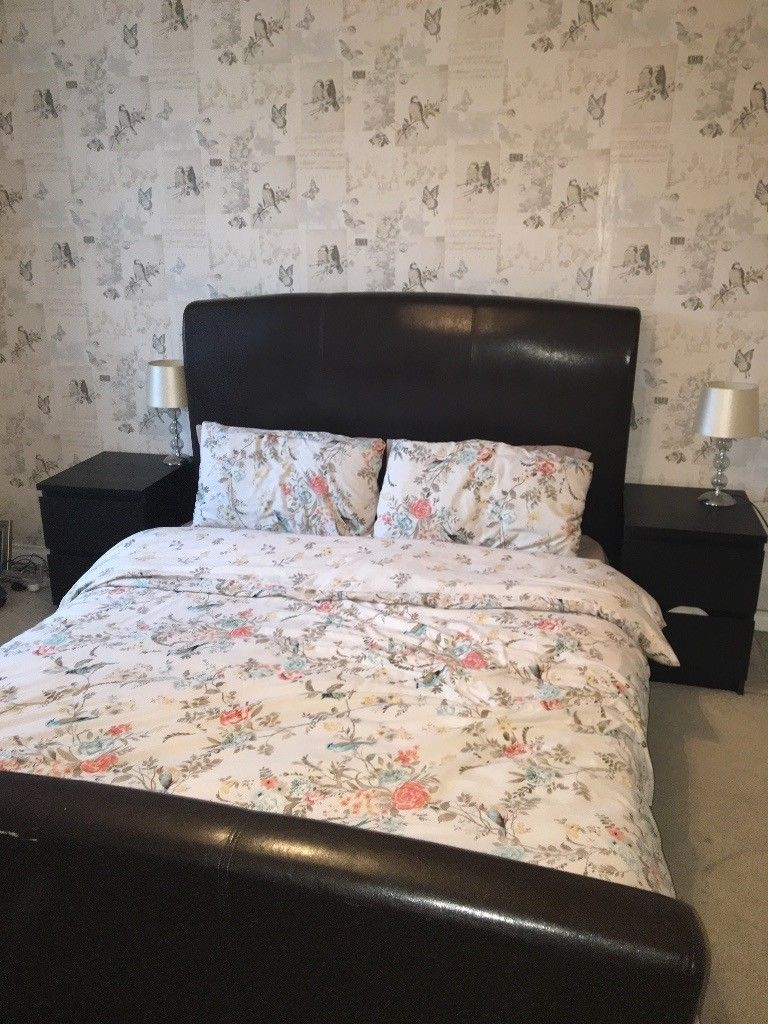 Brown Leather Bed Frame And Brown Bedroom Furniture | In Dunmurry Regarding Kawai Leather Swivel Chairs (Image 5 of 25)