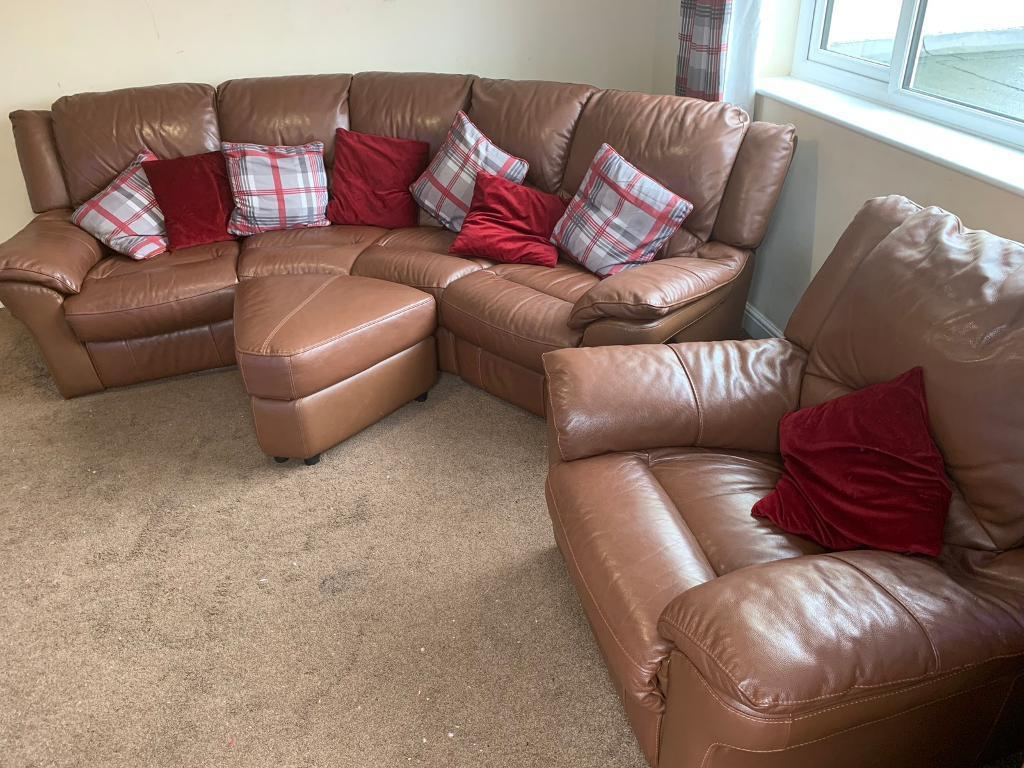Brown Leather Corner Reclining Sofa With Arm Chair And Footstool Pertaining To Devon Ii Arm Sofa Chairs (View 25 of 25)