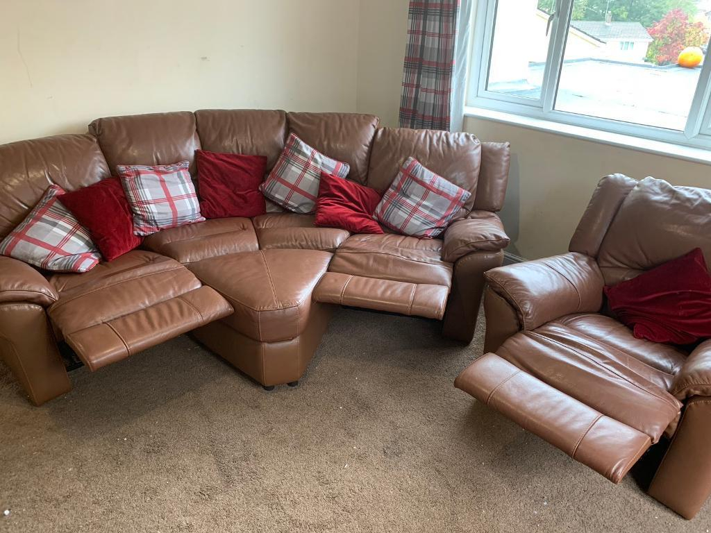 Brown Leather Corner Reclining Sofa With Arm Chair And Footstool With Devon Ii Arm Sofa Chairs (View 24 of 25)