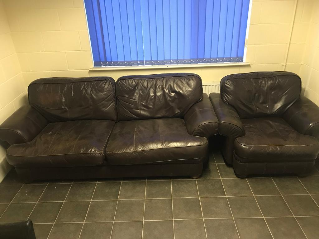 Brown Leather Sofa And Single Chair In Ok Condition Free If Throughout Andrew Leather Sofa Chairs (Image 15 of 25)
