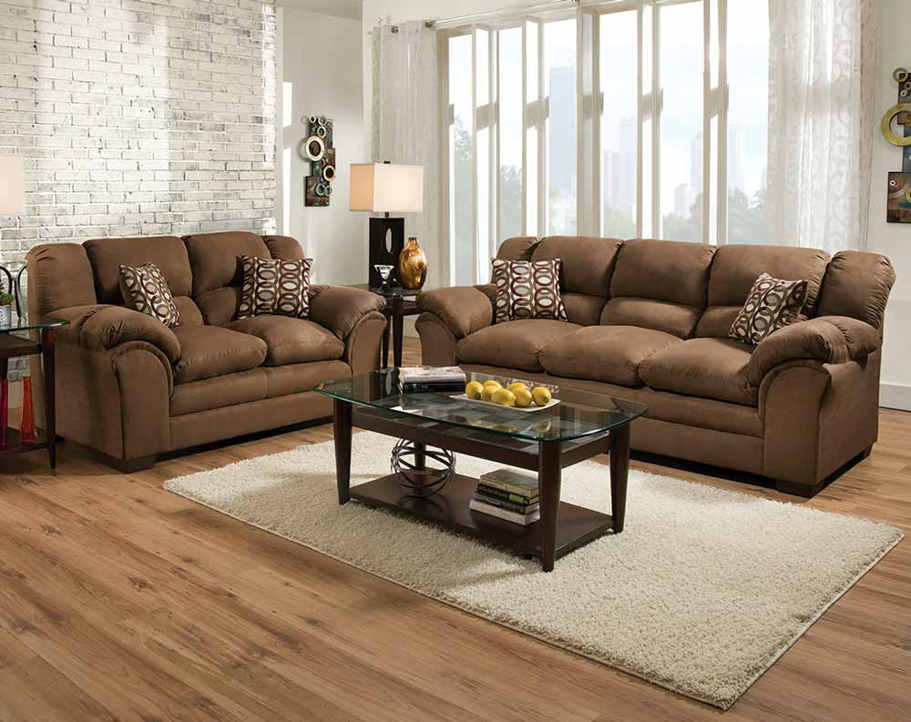 Brown, Plush Couch Set | Venture Chocolate Sofa And Loveseat With Sierra Foam Ii Oversized Sofa Chairs (Image 2 of 25)