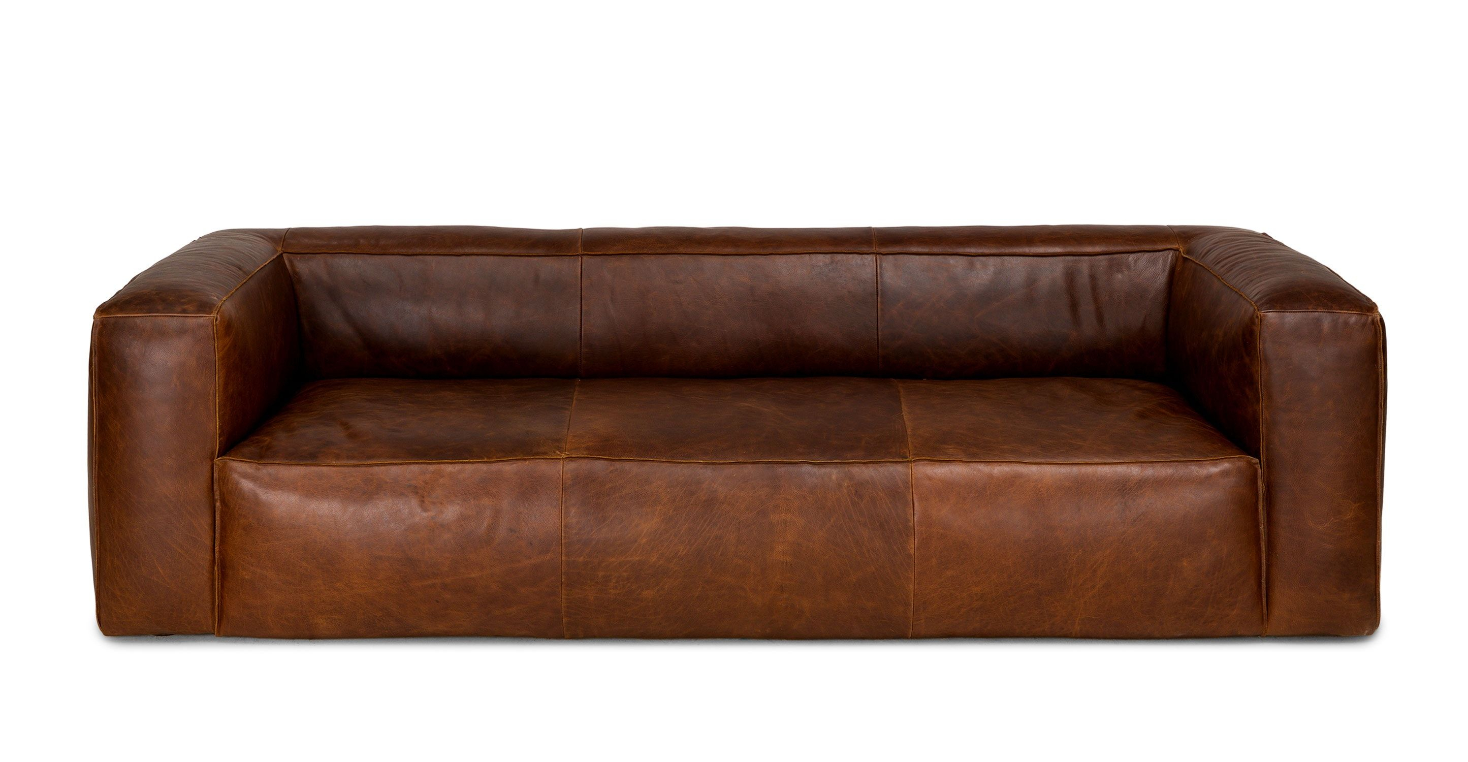 Brown Sofa, Italian Leather, Upholstered | Article Cigar Modern Pertaining To Caressa Leather Dove Grey Sofa Chairs (Image 3 of 25)