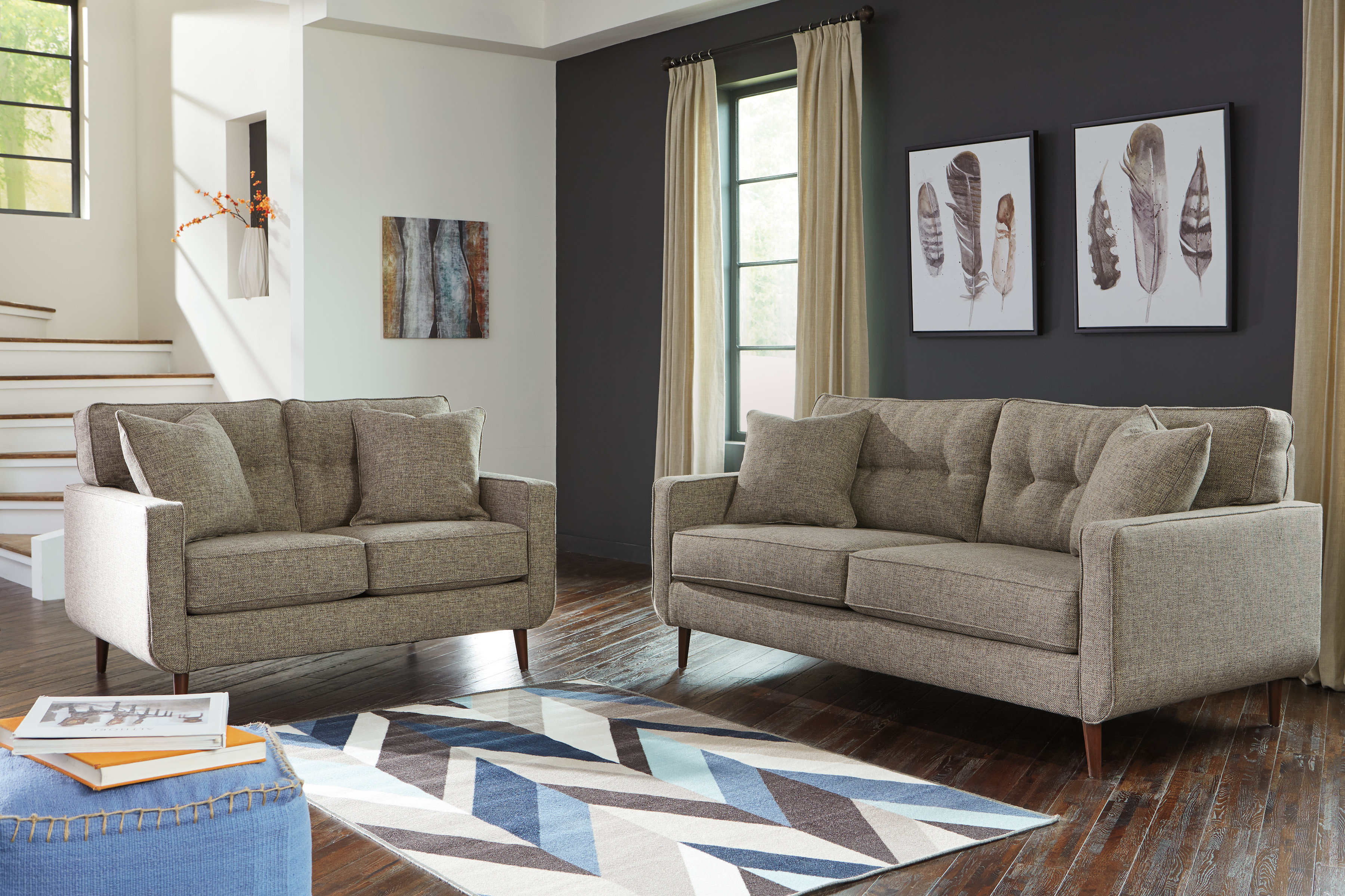 Bungalow Rose Grandin Configurable Living Room Set | Wayfair Throughout Grandin Leather Sofa Chairs (Image 6 of 25)
