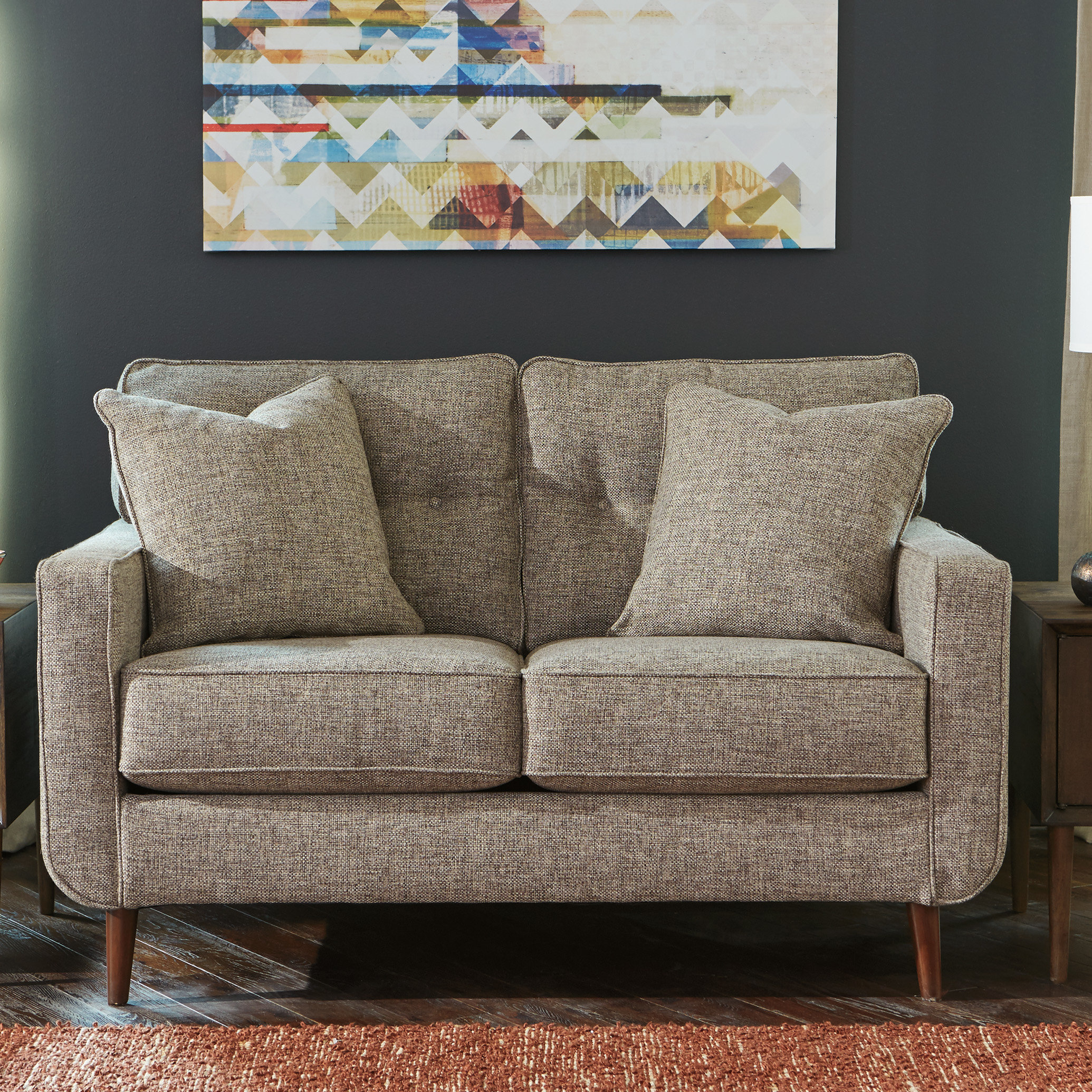 Bungalow Rose Grandin Loveseat | Birch Lane With Grandin Leather Sofa Chairs (View 10 of 25)