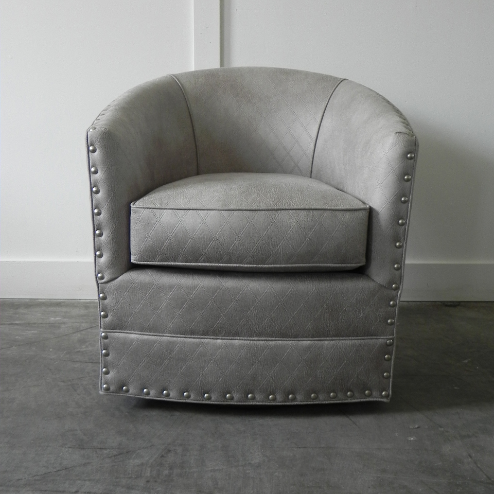 Burke Swivel Chair With Nails With Regard To Swivel Tobacco Leather Chairs (View 20 of 25)