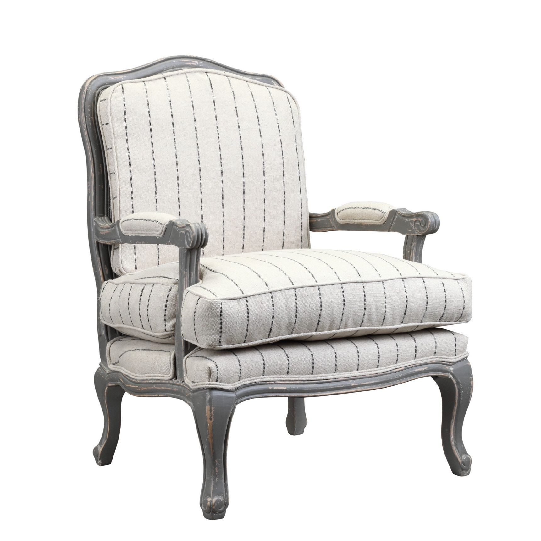 Burnham Home Designs Hasting Collection Distressed Oak Arm Chair Regarding Bailey Linen Flare Arm Wing Skirted Swivel Gliders (Image 9 of 25)