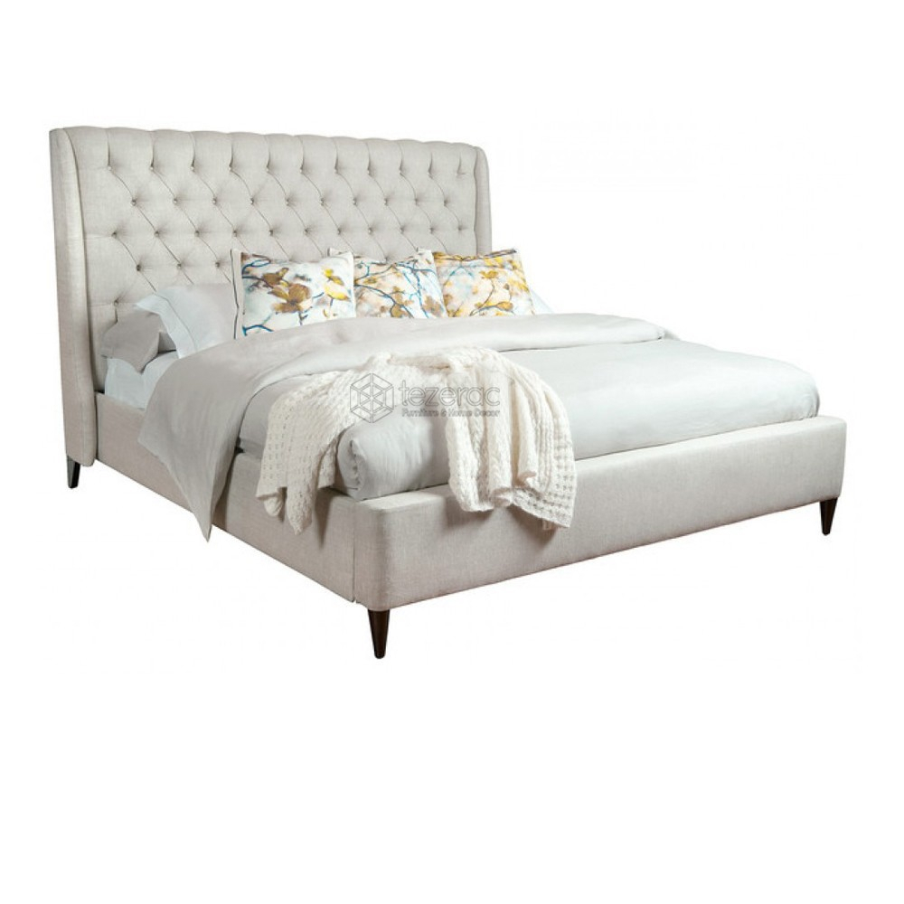 Buy Escondido Upholstered Soild Wood Double Bed In Beige Color With Escondido Sofa Chairs (Image 6 of 25)
