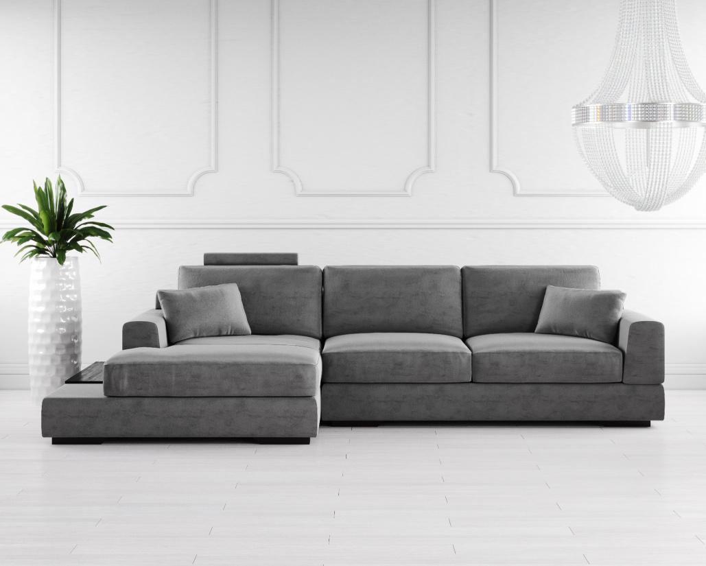 Buy Gino Fabric Corner Sofa Online In London, Uk | Denelli Italia Throughout London Dark Grey Sofa Chairs (Image 3 of 25)