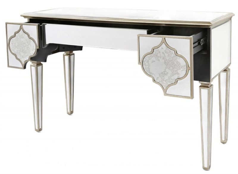 Buy Morocco Mirrored 3 Drawer Console Table Online Cfs Uk Narrow With Most Current Black And White Inlay Console Tables (Image 13 of 25)