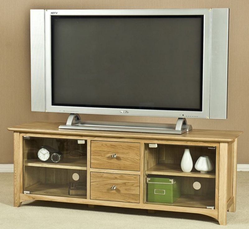 Buy Tuscany Solid Oak 2 Door 2 Drawer Large Glass Tv Unit Online For 2018 Oak Tv Cabinet With Doors (View 14 of 25)