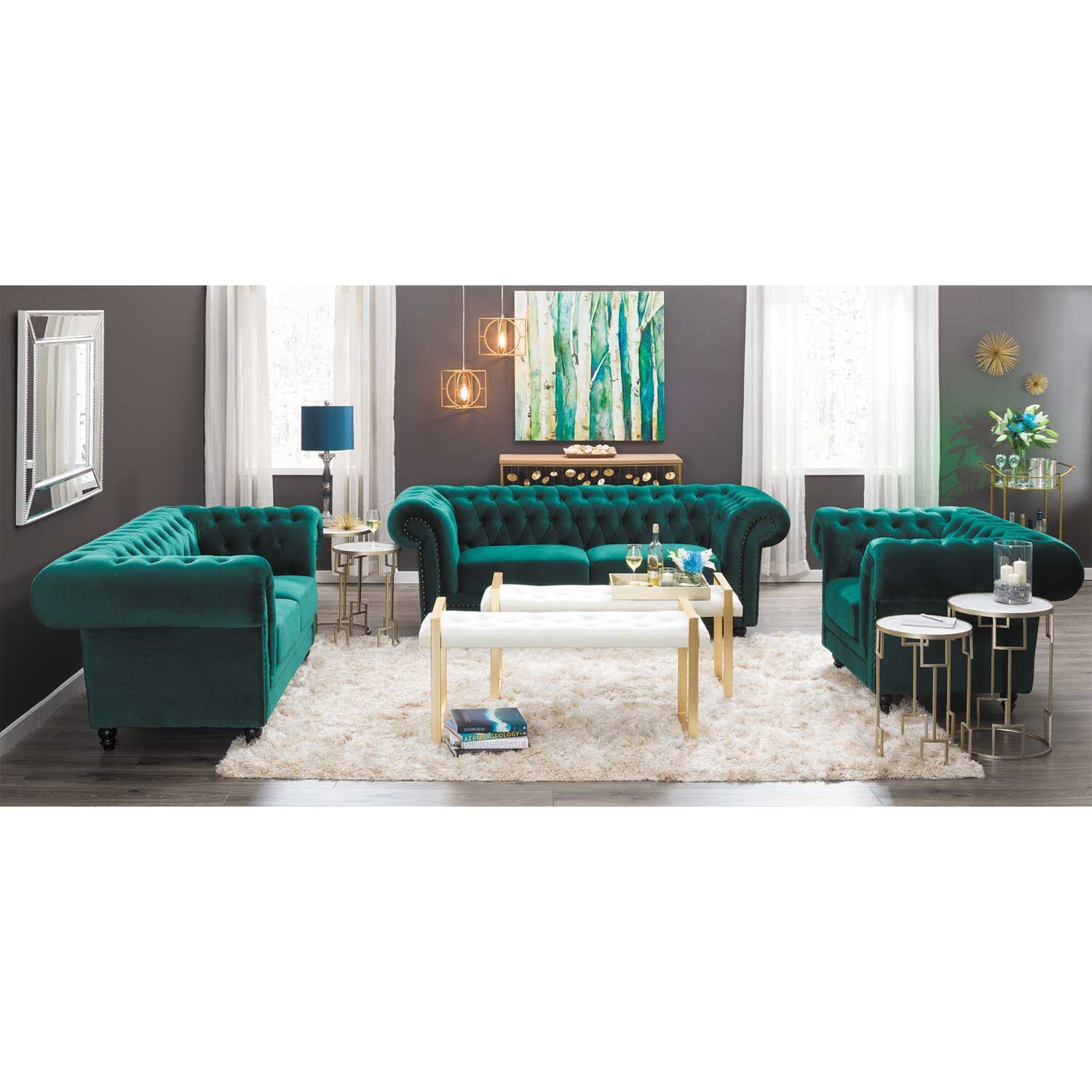 Callie Tufted Emerald Sofa | My225 S3/cc 42 | Cambridge Home | Afw With Regard To Callie Sofa Chairs (View 22 of 25)