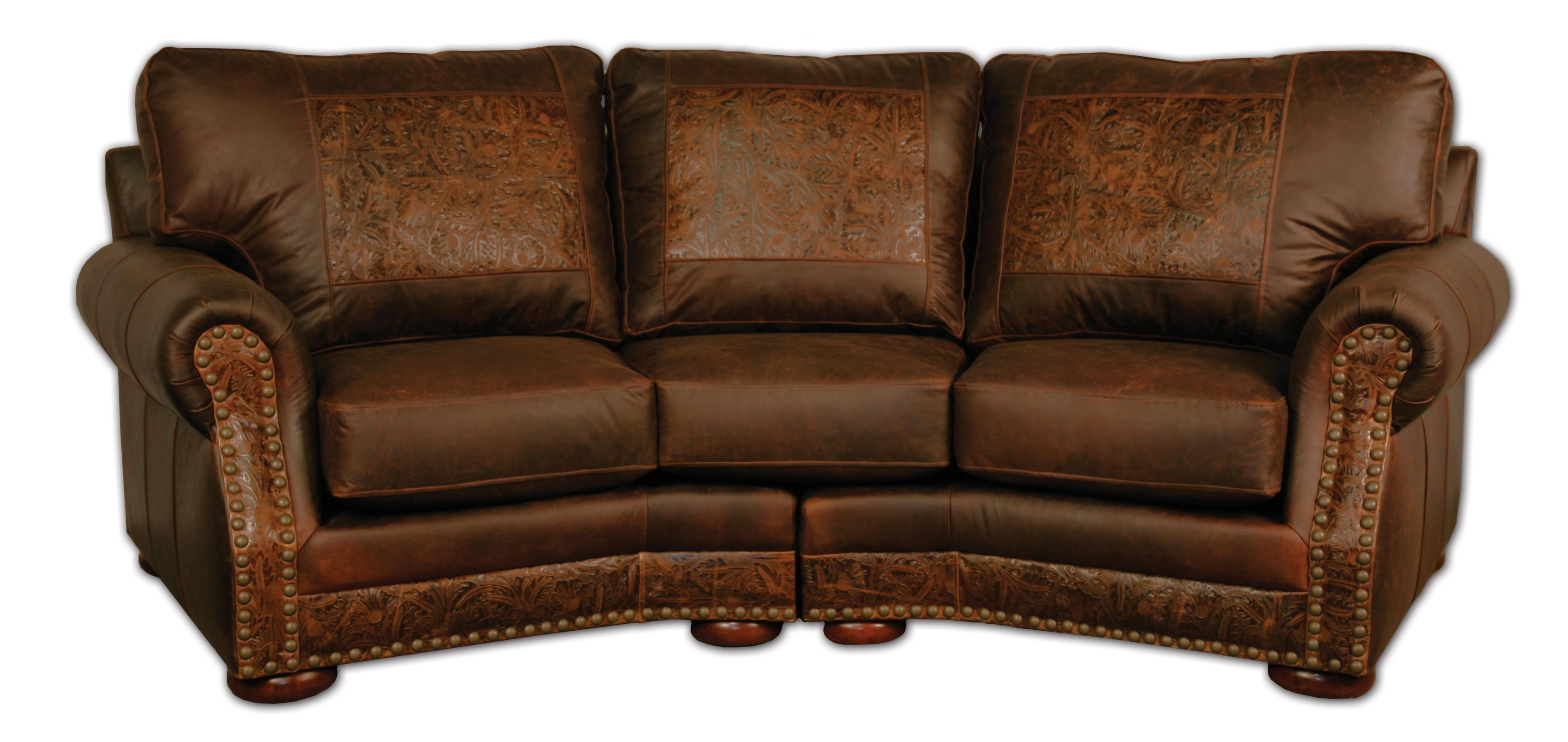 Cameron Ranch Conversation Sofa Dejavu Holster & Cosmo Tooled Leather In Cameron Sofa Chairs (View 15 of 25)