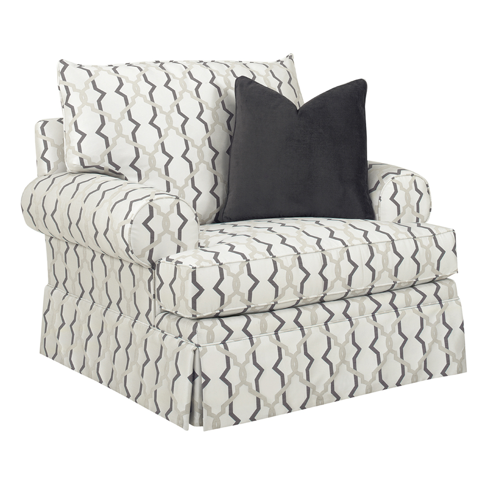 Cameron T Cushion Swivel Chair – Luxe Home Company Pertaining To Bailey Angled Track Arm Swivel Gliders (Image 5 of 25)