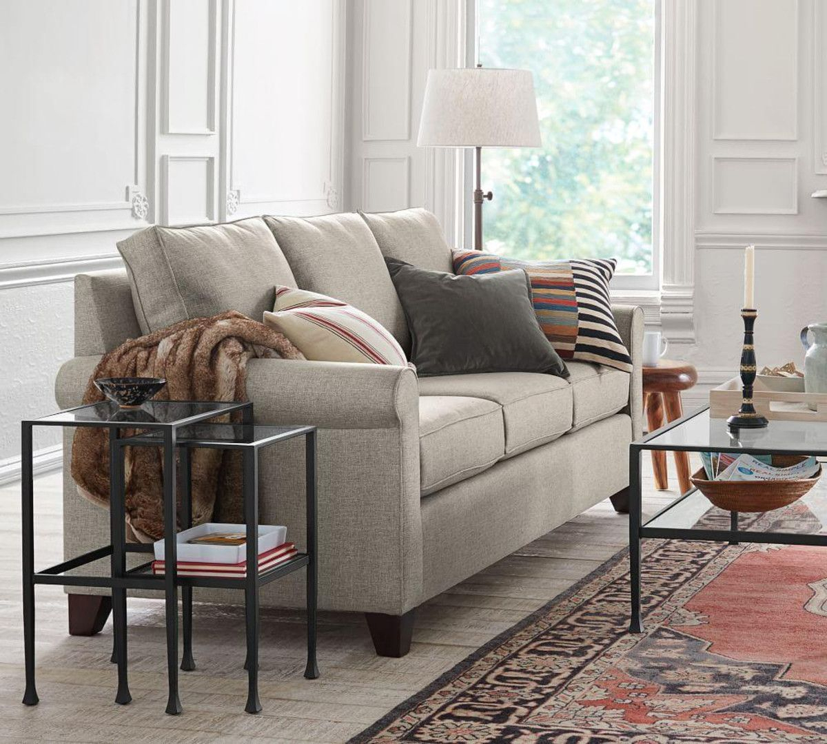 Cameron Upholstered Sofa – Oatmeal (224 Cm) | Lil Glen | Pinterest Within Cameron Sofa Chairs (View 18 of 25)