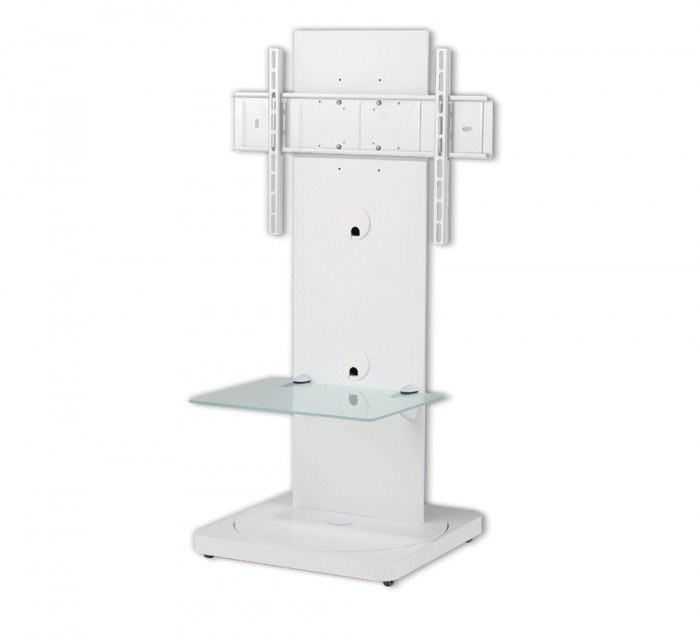 Cantabria Btf810W Square Based White Cantilever Tv Stand With Swivel Inside Famous White Cantilever Tv Stand (Image 5 of 25)