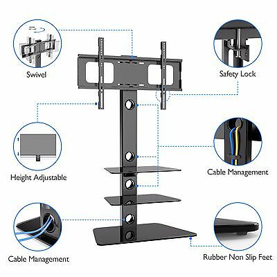 Cantilever Glass Tv Stand With 3 Shelves Bracket For 27 – 55 Inch In Most Up To Date Cantilever Glass Tv Stand (Image 3 of 25)