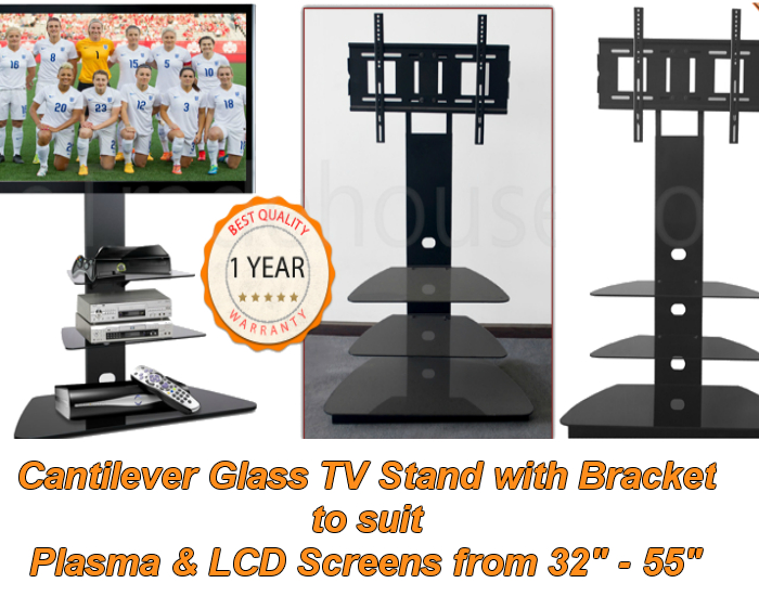 Cantilever Glass Tv Stand With Swivel Bracket – 85Cm Cantilever Tv In Best And Newest Cantilever Glass Tv Stand (Image 8 of 25)
