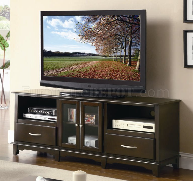 Cappuccino Finish Modern Tv Stand W/glass Front Doors With Well Known Glass Front Tv Stands (Image 3 of 25)