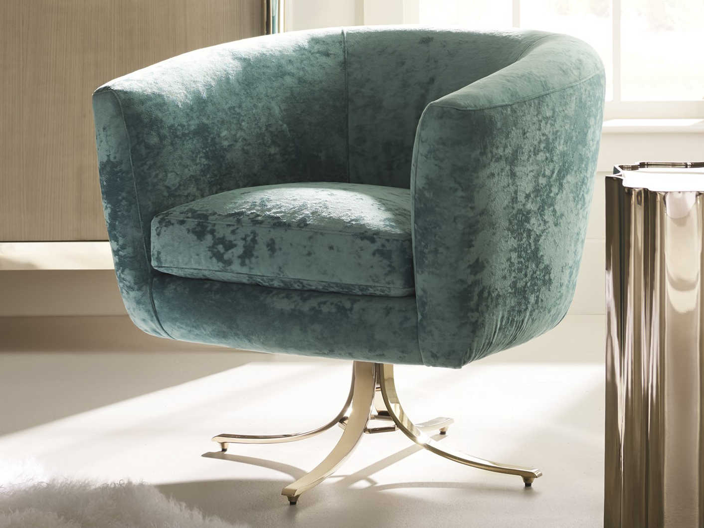 Caracole Classic Twirl Around Turquoise / Whisper Of Gold Accent With Twirl Swivel Accent Chairs (Image 5 of 25)