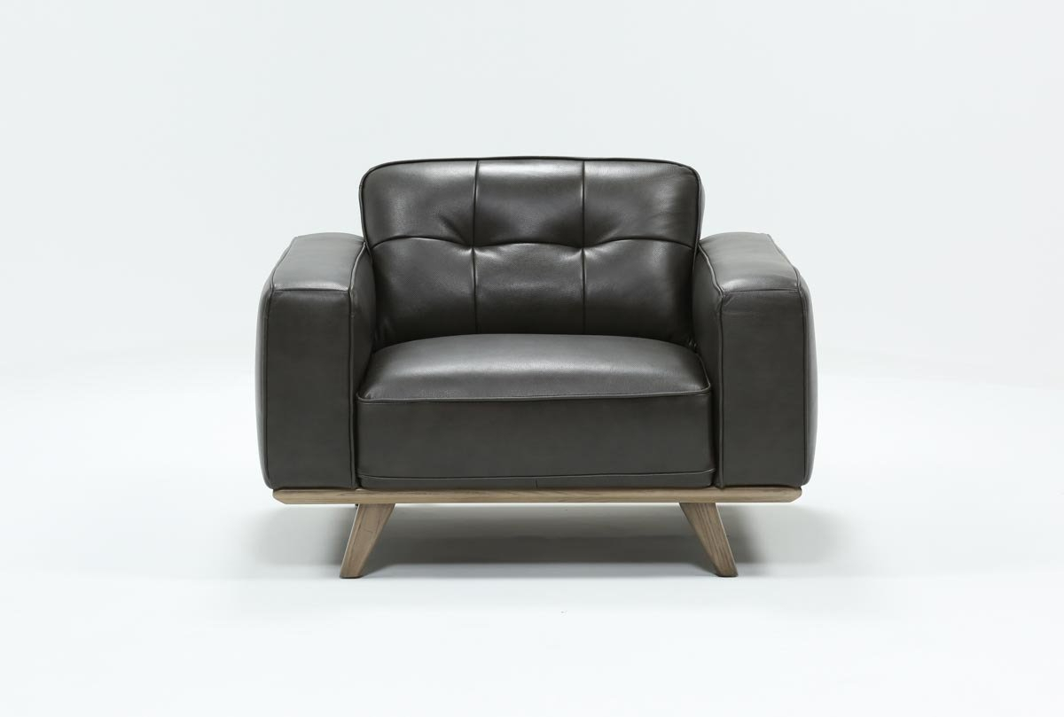 Caressa Leather Dark Grey Chair | Living Spaces In Caressa Leather Dove Grey Sofa Chairs (Image 5 of 25)