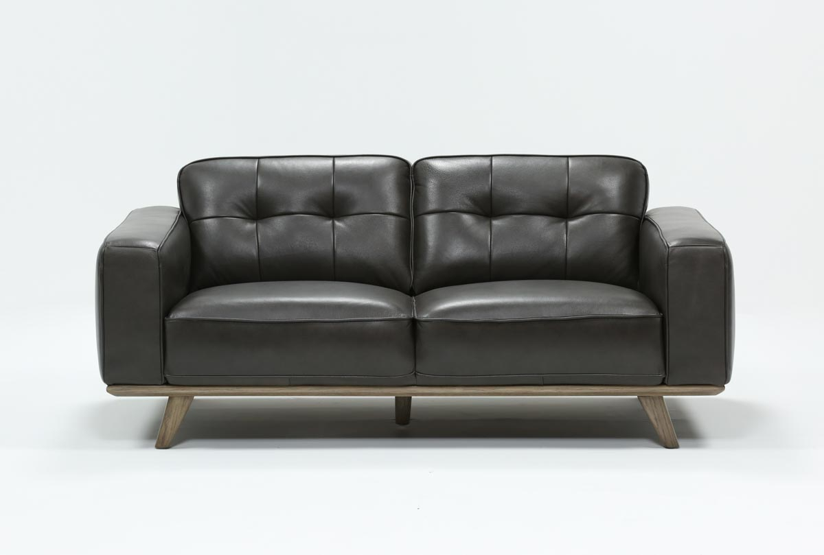 Caressa Leather Dark Grey Loveseat | Living Spaces In Caressa Leather Dark Grey Sofa Chairs (Image 10 of 25)