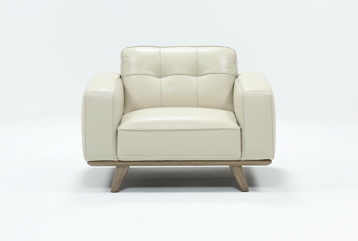 Caressa Leather Dove Grey Chair | Living Spaces With Cosette Leather Sofa Chairs (Image 2 of 25)