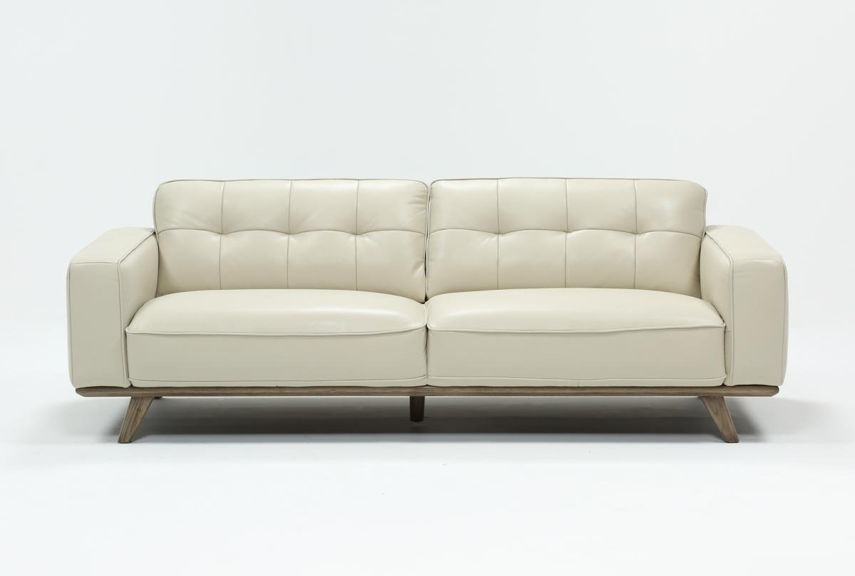 Caressa Leather Dove Grey Sofa | Living Spaces Throughout Cosette Leather Sofa Chairs (Image 3 of 25)