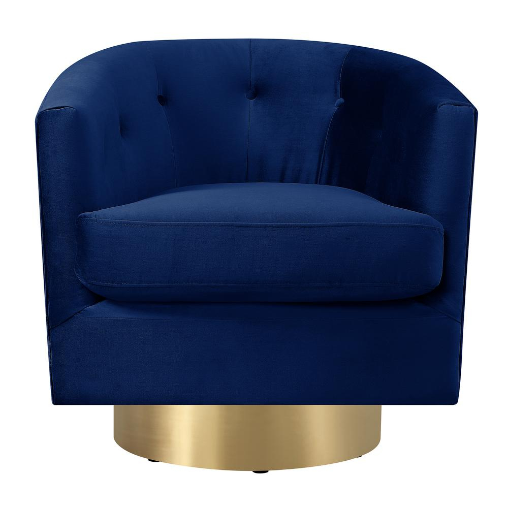 Carolina Navy Blue Button Tufted Swivel Accent Chair Utr286101Swg Inside Loft Black Swivel Accent Chairs (View 4 of 25)