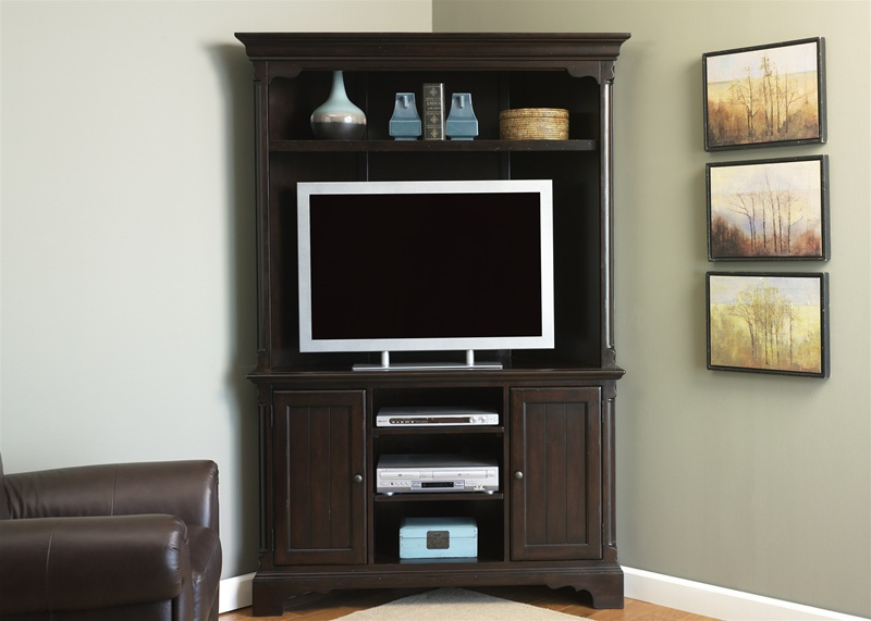 Carriage House Corner Entertainment Center 48 Inch Tv In Mahogany With Latest Corner Tv Cabinet With Hutch (View 7 of 25)