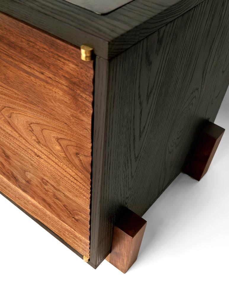 Cave Credenza Sideboardcauv Design Burnt Oak And Walnut In Favorite Burnt Oak Metal Sideboards (Image 4 of 25)
