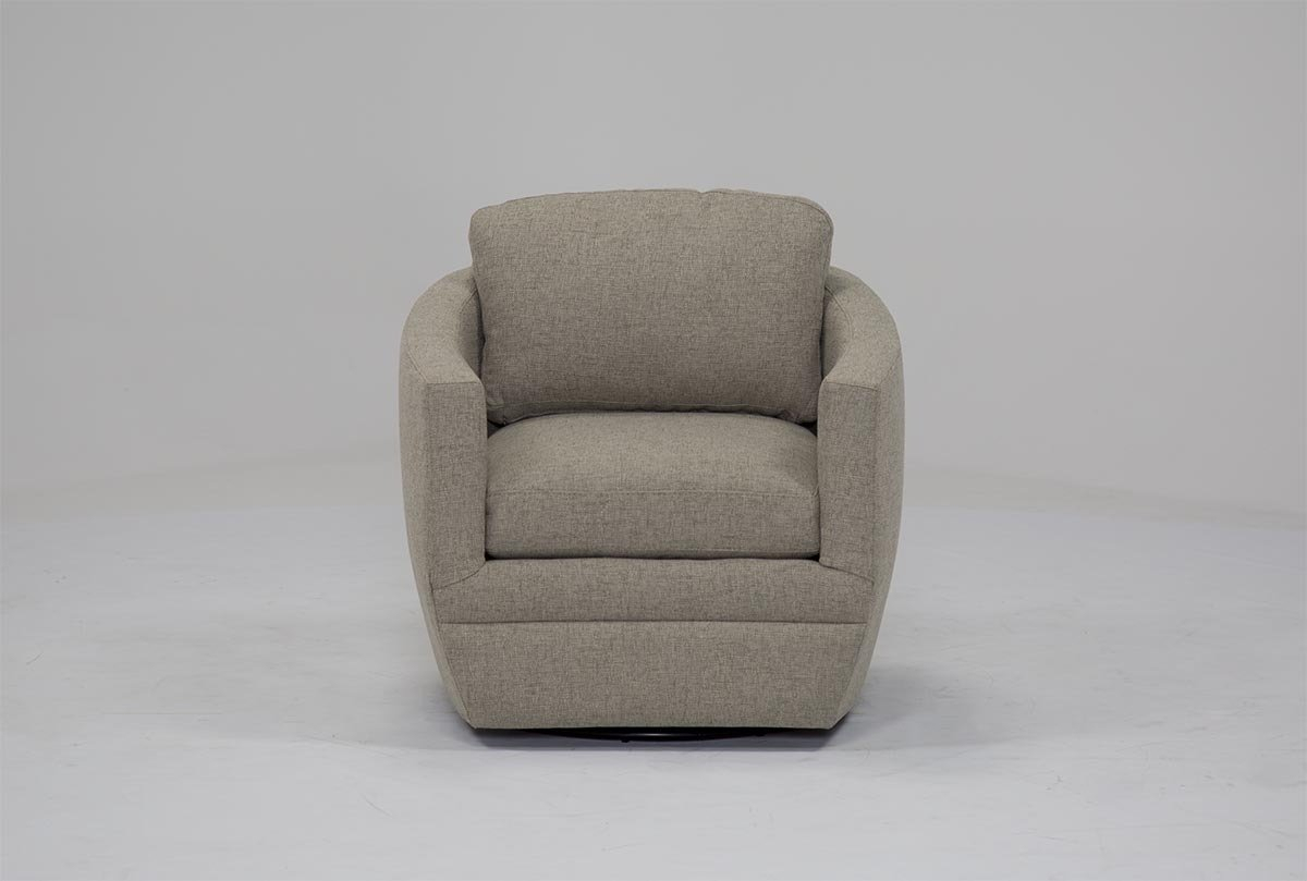 Chadwick Gunmetal Swivel Chair | Living Spaces Pertaining To Kawai Leather Swivel Chairs (Image 6 of 25)