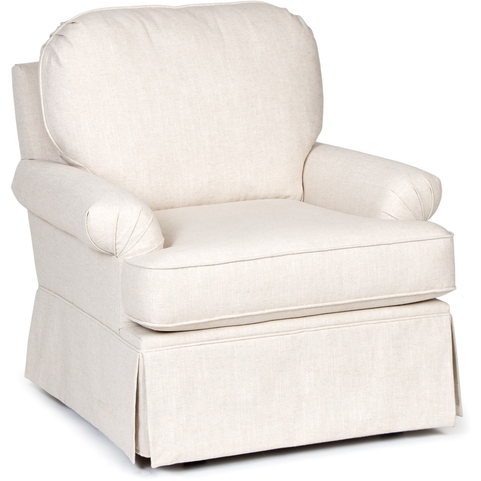 Chairs America Accent Chairs And Ottomans Swivel Glider With Skirted Intended For Harbor Grey Swivel Accent Chairs (Image 6 of 25)