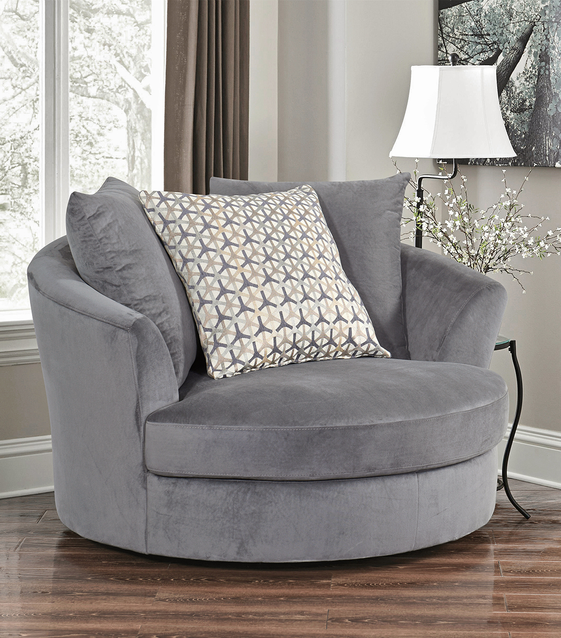 Chairs : Tanya Swivel Chair, Grey In Grey Swivel Chairs (View 3 of 25)