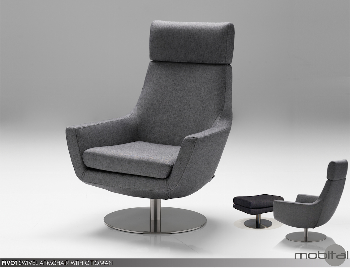 Charcoal Pivot Swivel Chair & Ottomanmobitalmobital For Charcoal Swivel Chairs (View 5 of 25)