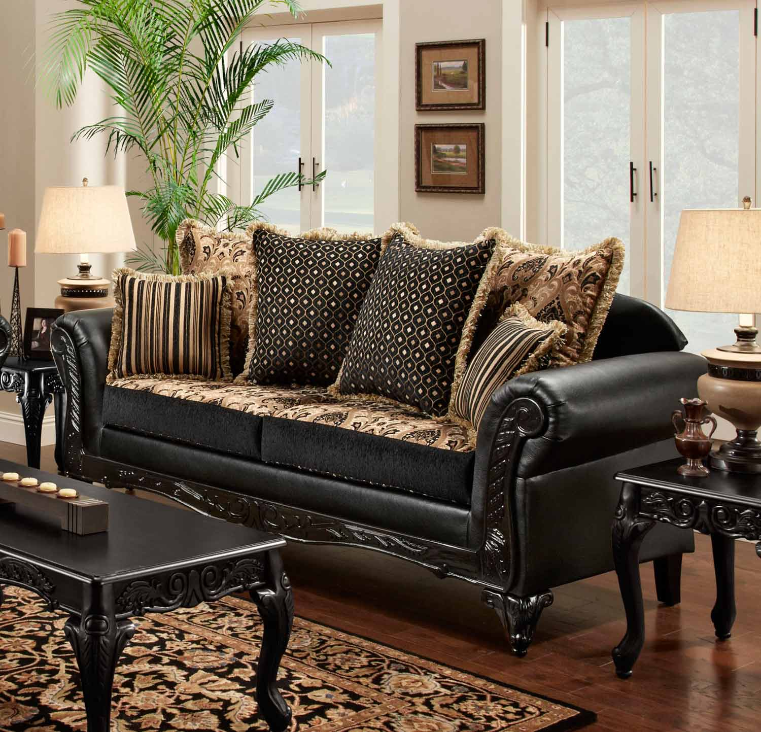 Chelsea Home Gwendolyn Sofa – Monte Carlo Ebony/bi Cast Ebony Chf For Gwen Sofa Chairs (View 25 of 25)