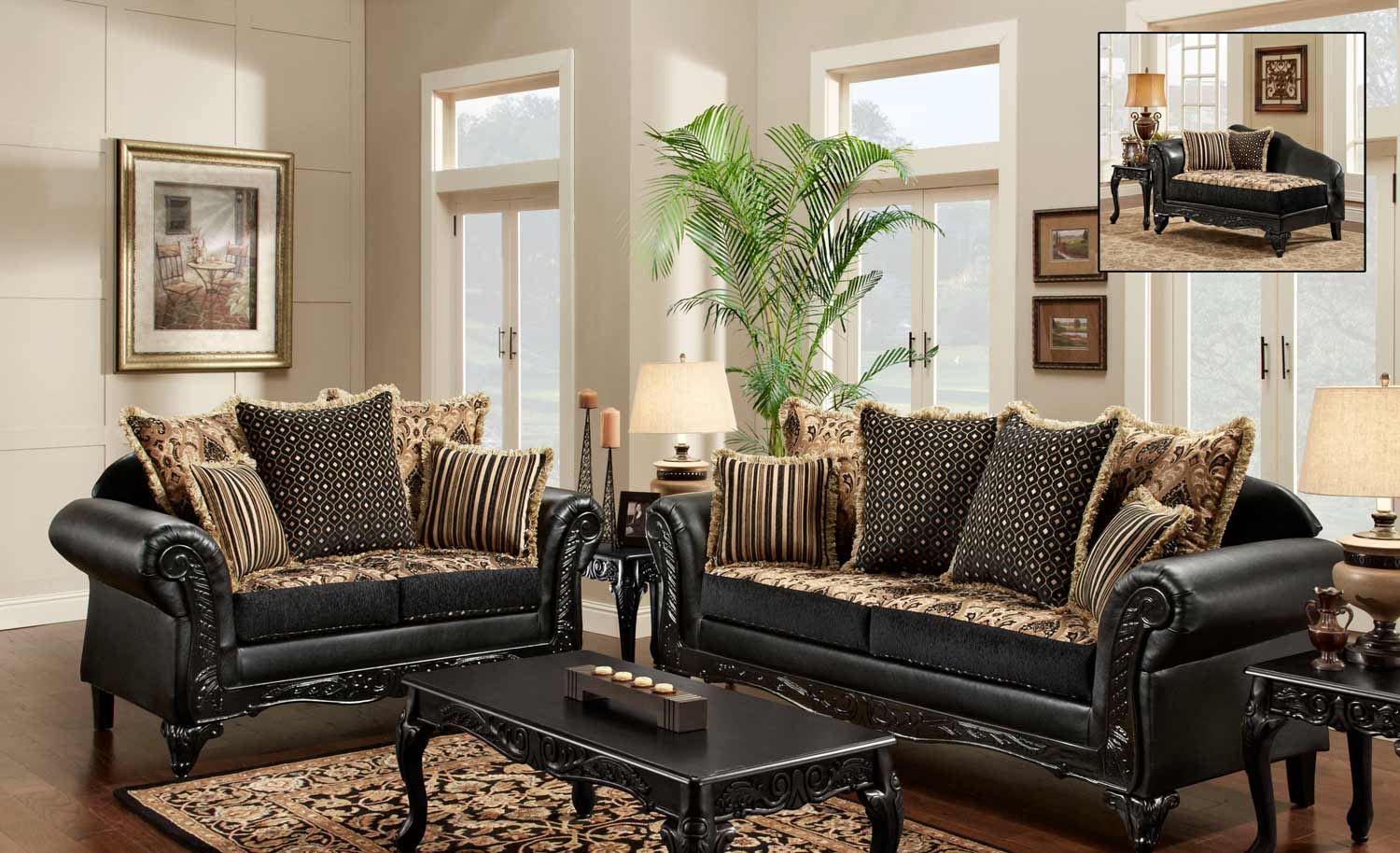 Chelsea Home Gwendolyn Sofa Set – Monte Carlo Ebony/bi Cast Ebony With Gwen Sofa Chairs (View 16 of 25)