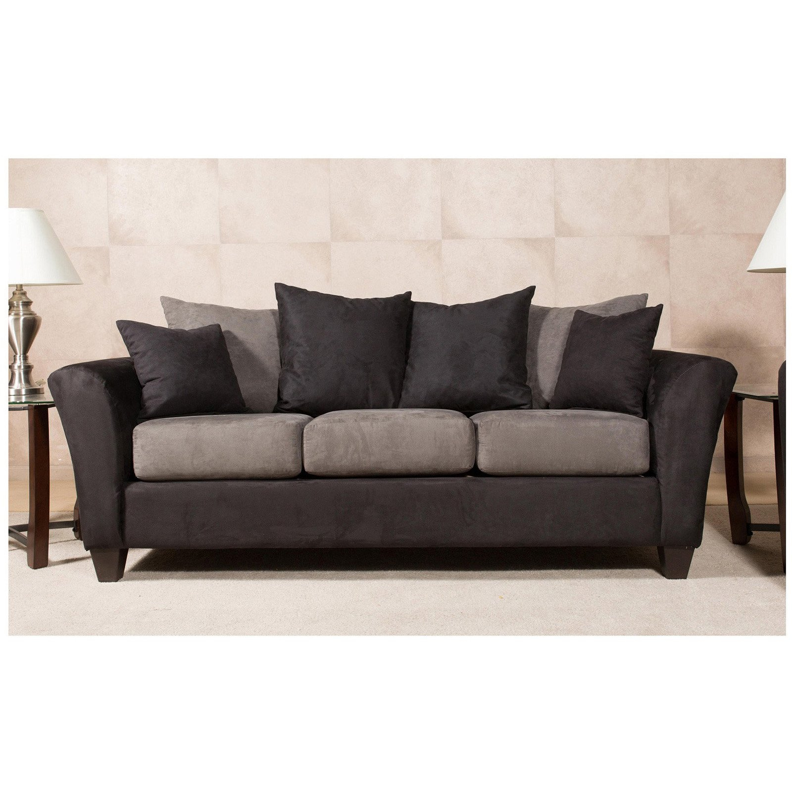Chelsea Home Mansfield Sofa With 4 Accent Pillows – Walmart Within Mansfield Beige Linen Sofa Chairs (Image 3 of 25)