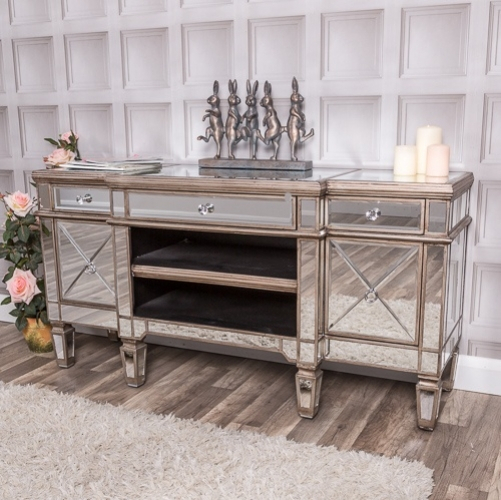 Chelsea Range – Large Mirrored Television Stand Tv Unit/living Room With Most Recent Mirrored Furniture Tv Unit (Image 6 of 25)