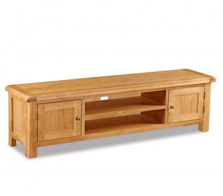 Chf Global Home Salisbury Rustic Solid Oak Low Line Tv Unit – Tv With Regard To Most Recently Released Rustic Wood Tv Cabinets (Image 5 of 25)