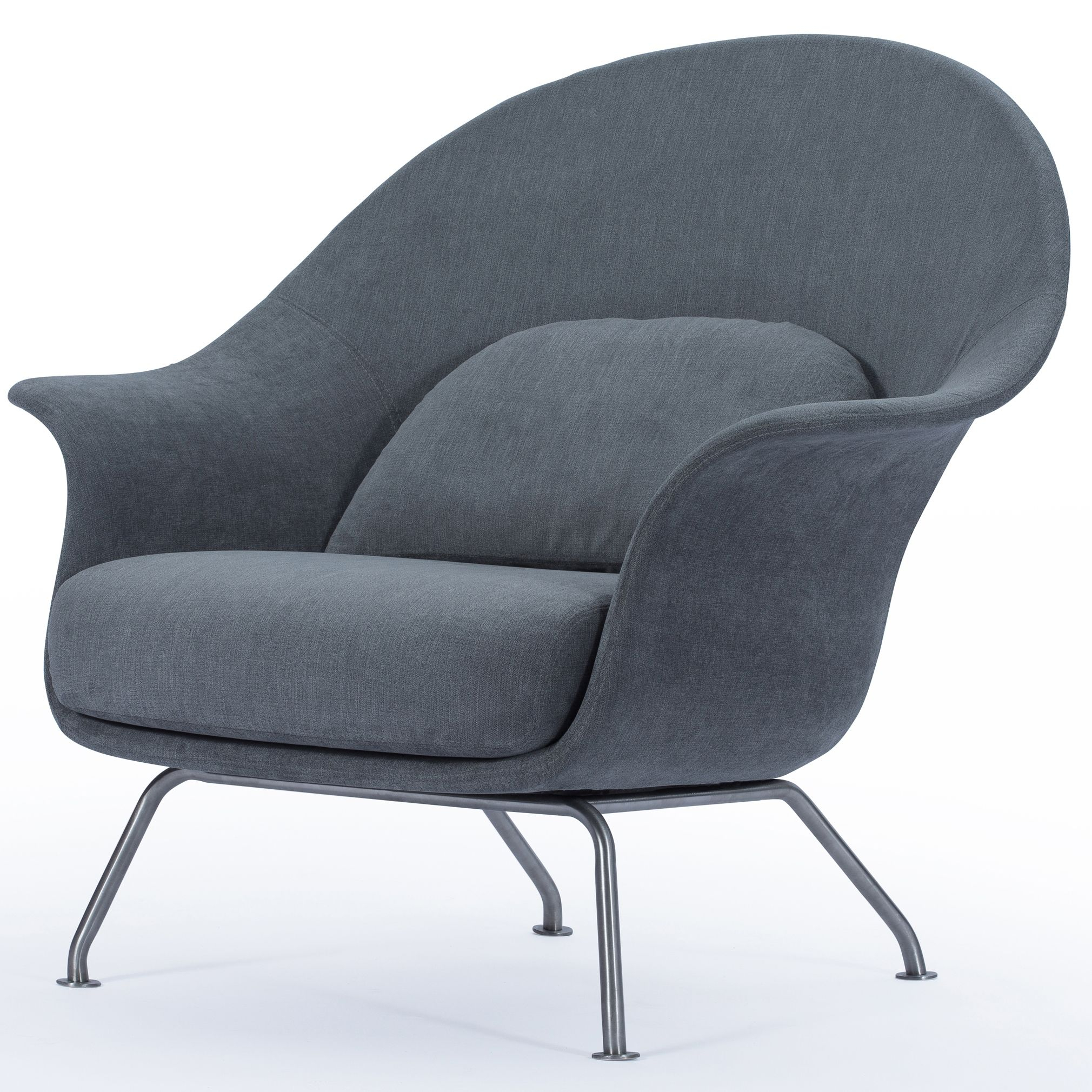 Chiara Kd Fabric Accent Chair Brushed Stainless Steel Legs, Moonbeam Intended For Loft Black Swivel Accent Chairs (View 7 of 25)