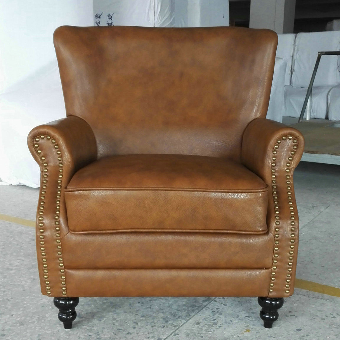 China Tobacco Color Leather Chair, Cigar Club Chair, Hotel Chair Throughout Swivel Tobacco Leather Chairs (View 25 of 25)