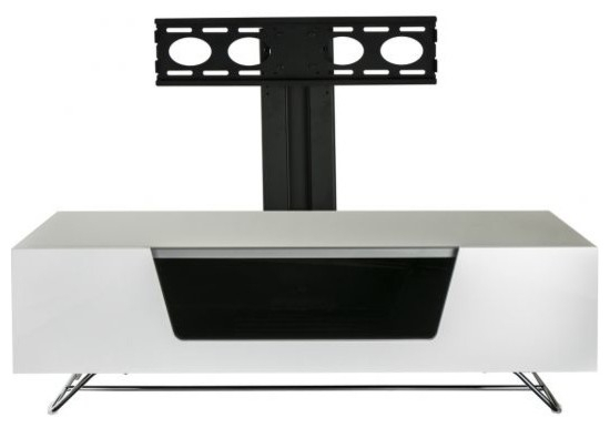 Chromium Cantilever Tv Unit, White, 120 Cm – Contemporary – Tv Throughout Widely Used White Cantilever Tv Stand (View 23 of 25)