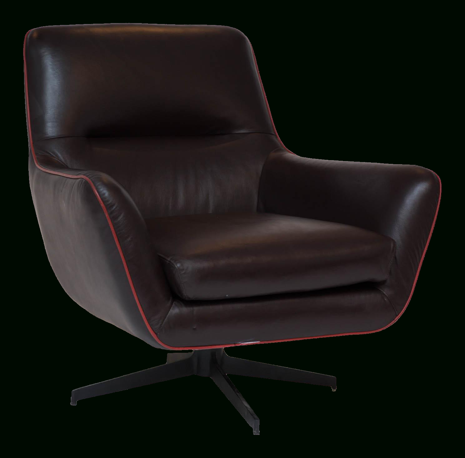 Clean Brown Leather Swivel Chair Trimmed In Red Leather Piping (View 3 of 25)