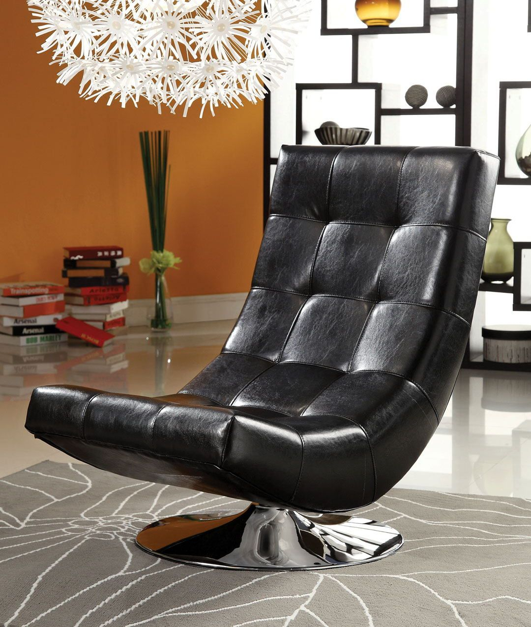 Cm Ac6912Bk Trinidad Black Leather Like Vinyl Hammock Style Tufted For Loft Black Swivel Accent Chairs (View 6 of 25)