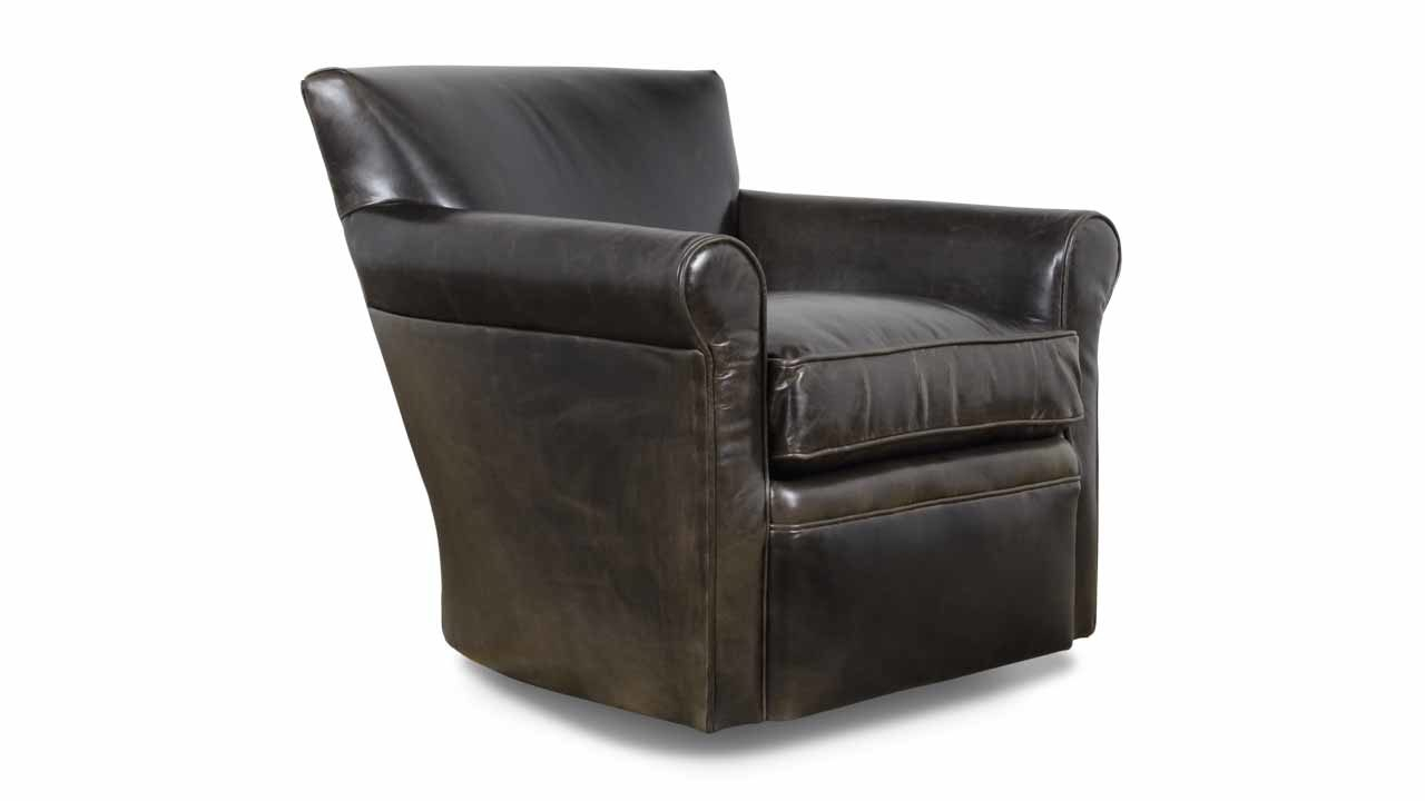 Cococo Home | Amelia Leather Swivel Chair – Made In Usa Intended For Espresso Leather Swivel Chairs (Image 9 of 25)