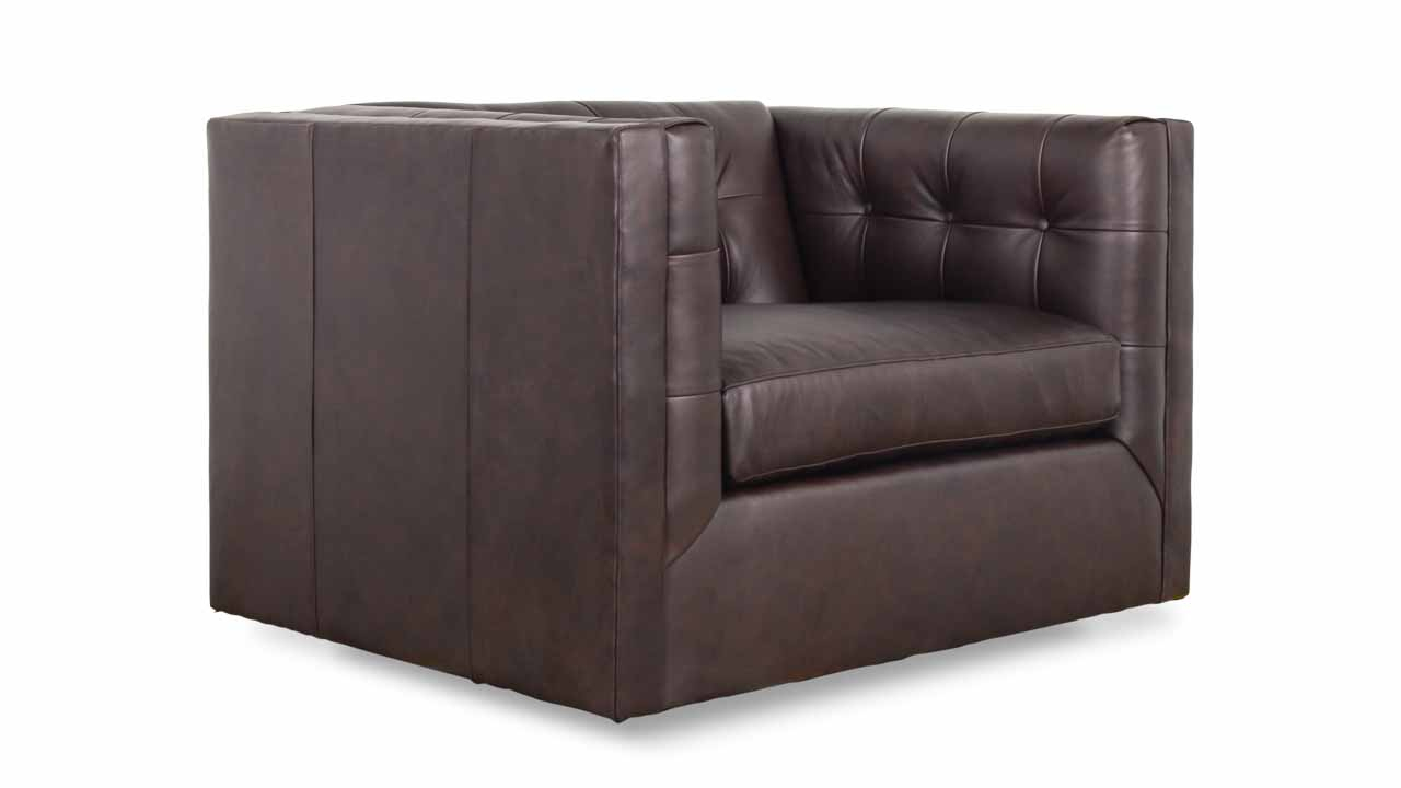 Cococo Home | Arden Leather Swivel Chair – Made In Usa With Chocolate Brown Leather Tufted Swivel Chairs (View 11 of 25)