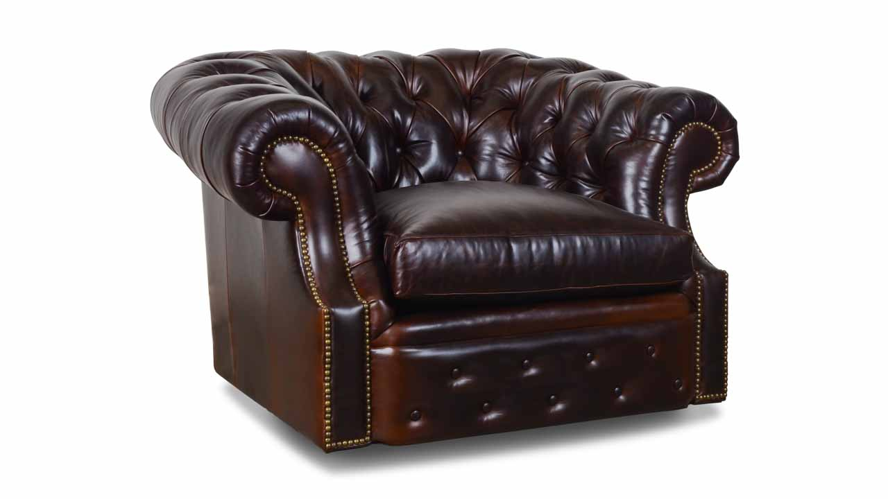 Cococo Home | Biltmore Chesterfield Leather Swivel Chair – Made In Usa With Espresso Leather Swivel Chairs (Image 10 of 25)